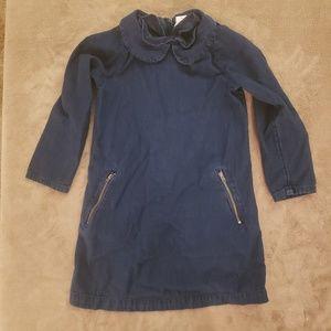 Girls Long Sleeve Zippered Jean Dress